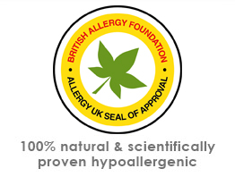 Allergy UK Seal of approval. The only certified and natural anti allergy bedding