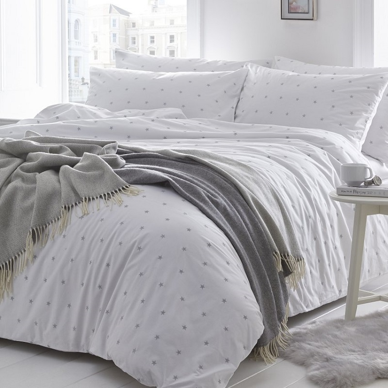 Stars Silver Grey Cover Set Includes, Grey Silver Bedding