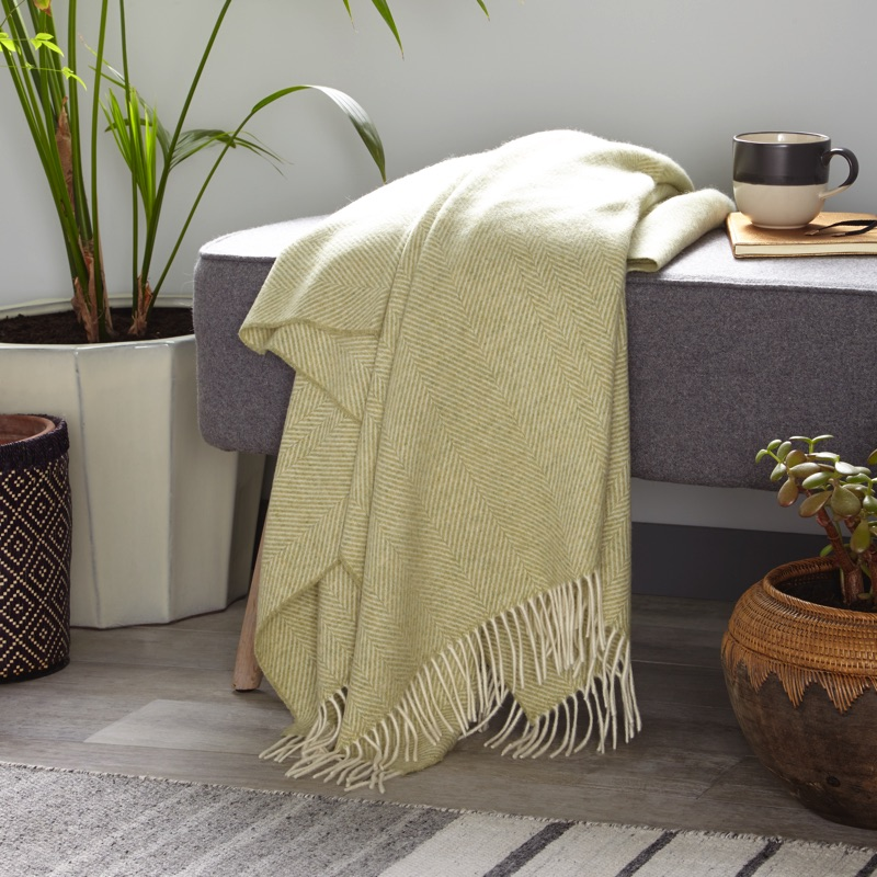 Herringbone Merino Wool Throw - Sage
