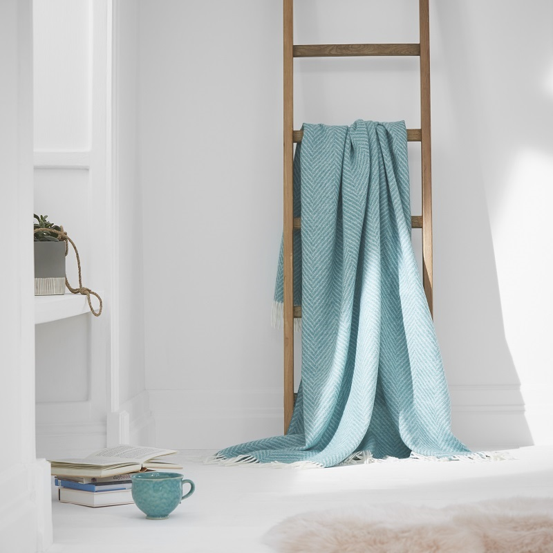 Herringbone Wool Throw - Jade