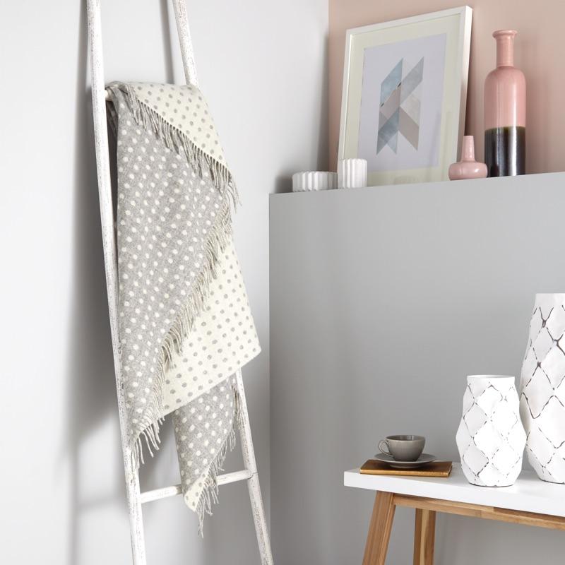Spot Merino Wool Throw - Grey