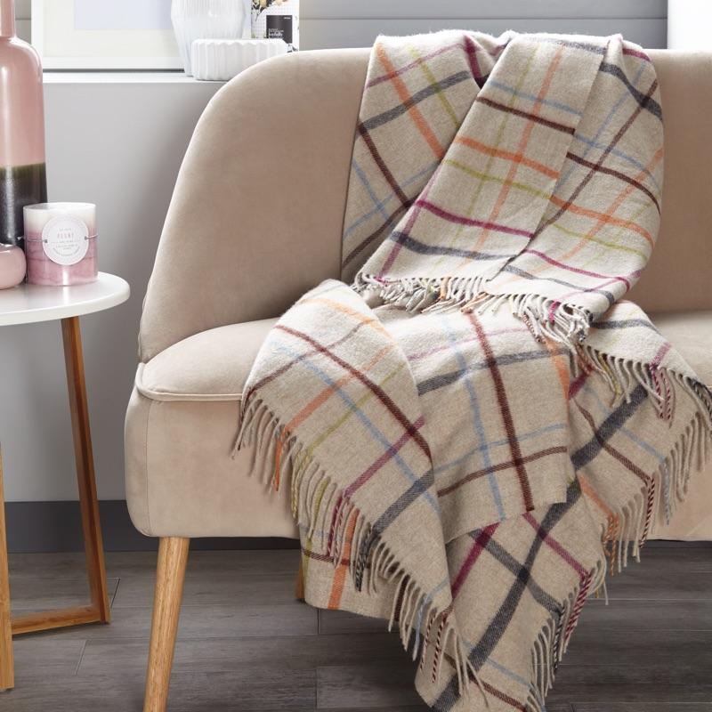 Windowpane Merino Wool Throw - Beige/ Multi