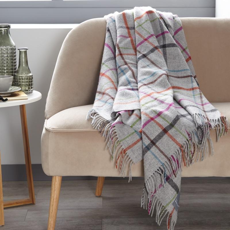 Windowpane Merino Wool Throw - Grey/ Multi