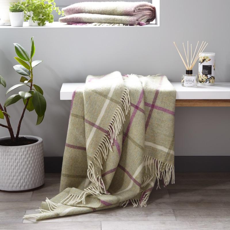 Windowpane Wool Throw - Fern