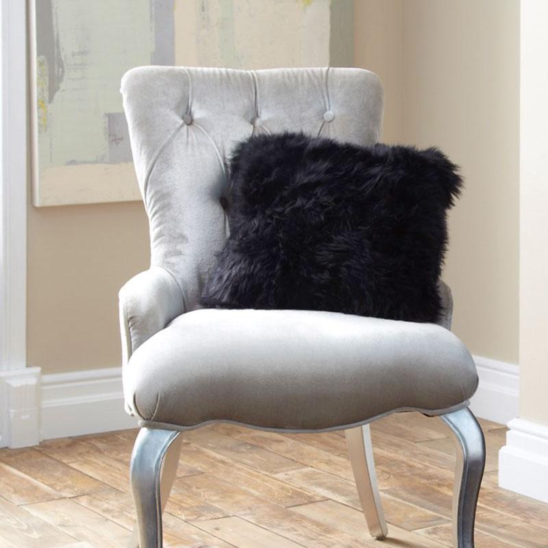 Cushion- Single Sided Sheepskin-Black