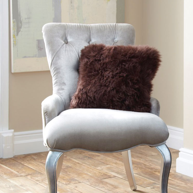 Cushion- Single Sided Sheepskin-Chocolate