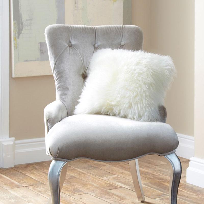 Cushion- Single Sided Sheepskin-Ivory