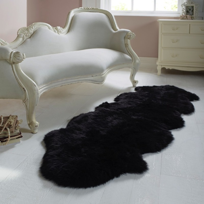 Double Sheepskin Black Rug