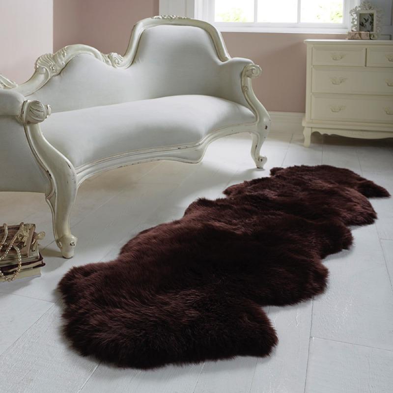 Double Sheepskin Chocolate Rug Woolroom