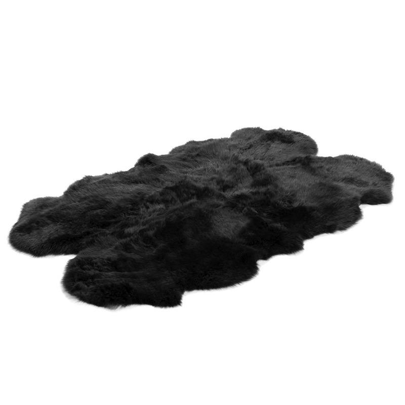 Quad Sheepskin Black Rug