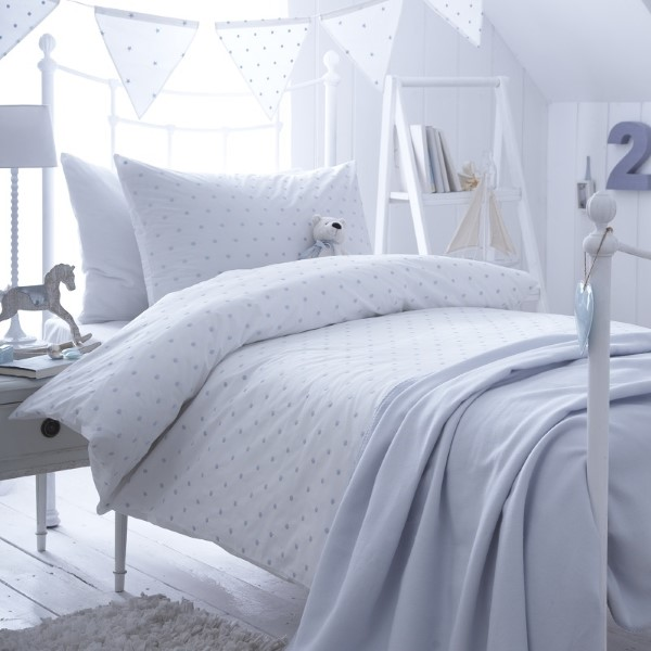 Dotty Blue Duvet Cover Set - With Pillow Case - Cotbed