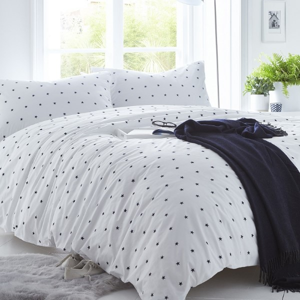 Stars Navy Grey Cover Set - includes Duvet and Pillowcase