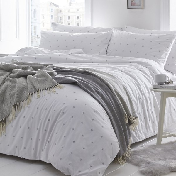 Stars Silver Grey Cover Set - includes Duvet and Pillowcase
