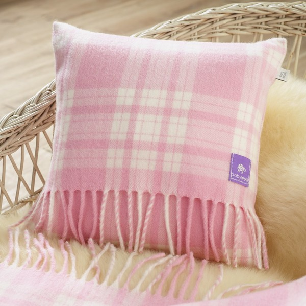 Wool Baby Cushion, Pink Menzies Check