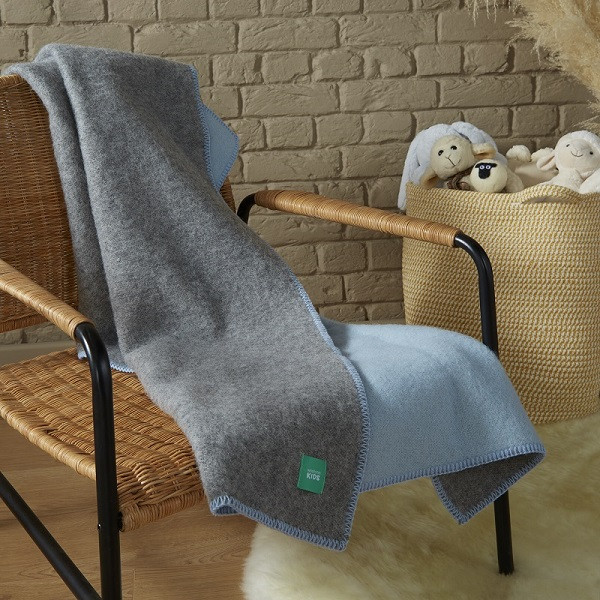 Woolroom Kids DUO Baby Blanket - Blue/Grey