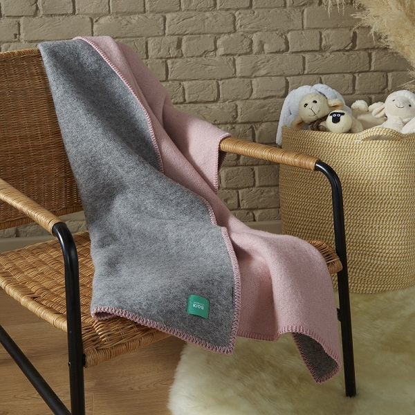 Woolroom Kids DUO Baby Blanket - Pink/Grey