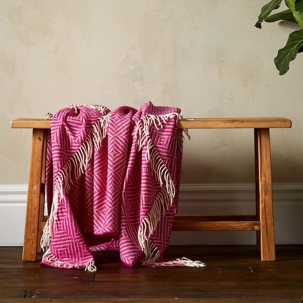 Bright Diamond Merino Throw- Fuchsia