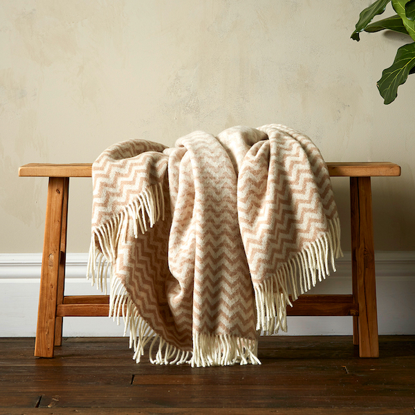 Woolroom Astrid Gradient Pure New Wool Throw - Beige
