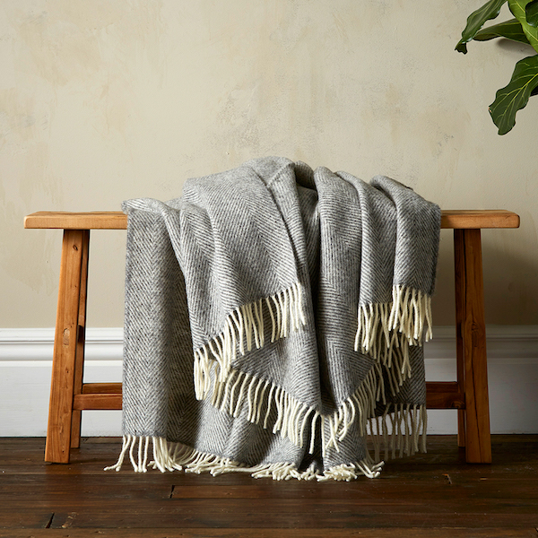 Greta Herringbone Wool Blanket - Grey