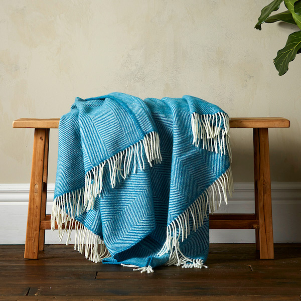 Greta Herringbone Wool Blanket - Teal
