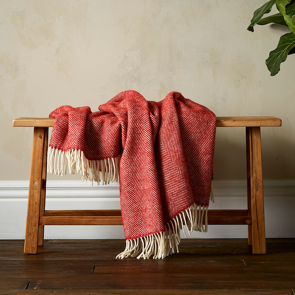 Greta Herringbone Wool Blanket - Terracotta