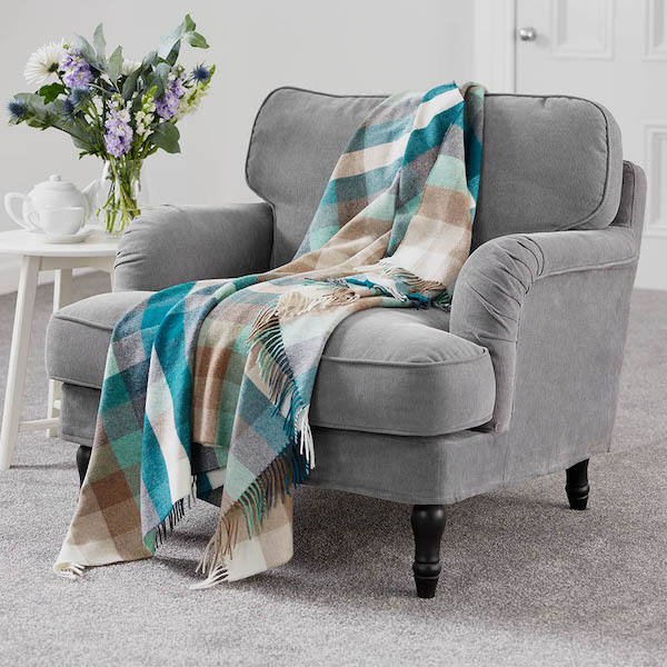 Harlequin Eucalyptus Merino Wool Throw