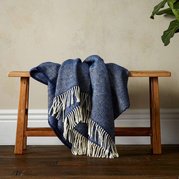 Woolroom Lilly Herringbone Pure New Wool Throw - Blue