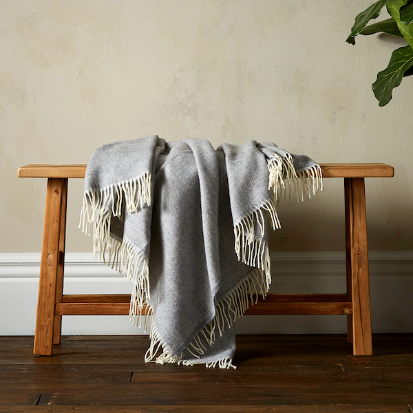 Woolroom Lilly Herringbone Pure New Wool Throw - Grey