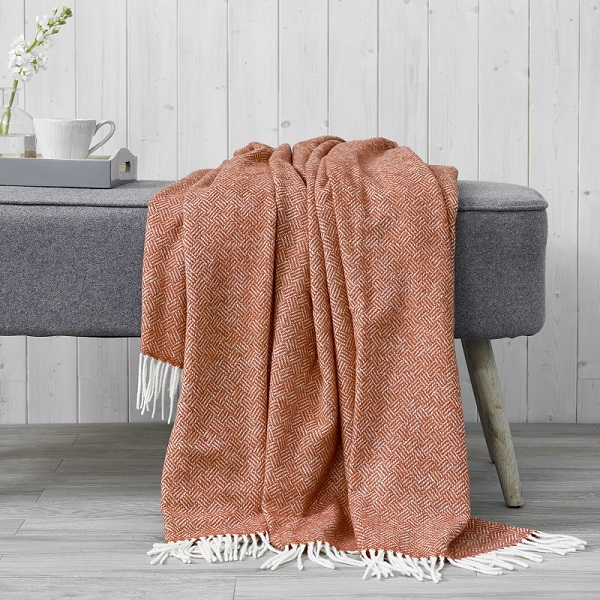 Parquet Merino Throw - Coral
