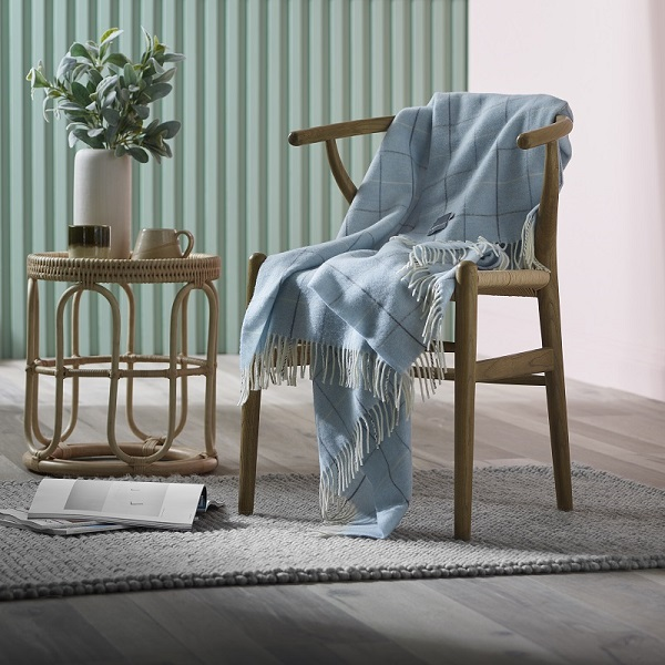 Woolroom Check Merino Throw - Powder Blue