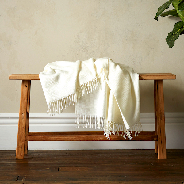 Woolroom Diamond Twill Throw - White