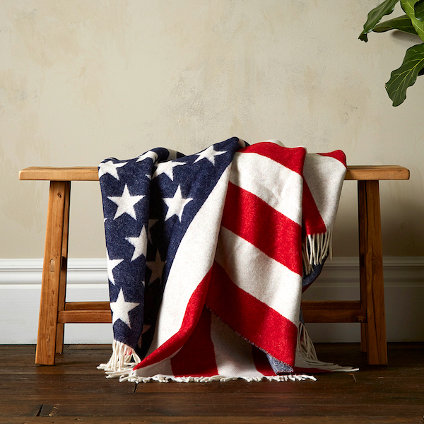 Woolroom Stars & Stripes Merino Throw - Red, White & Blue