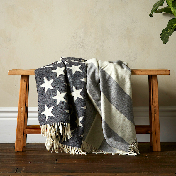 Woolroom Stars & Stripes Merino Throw - Grey & White