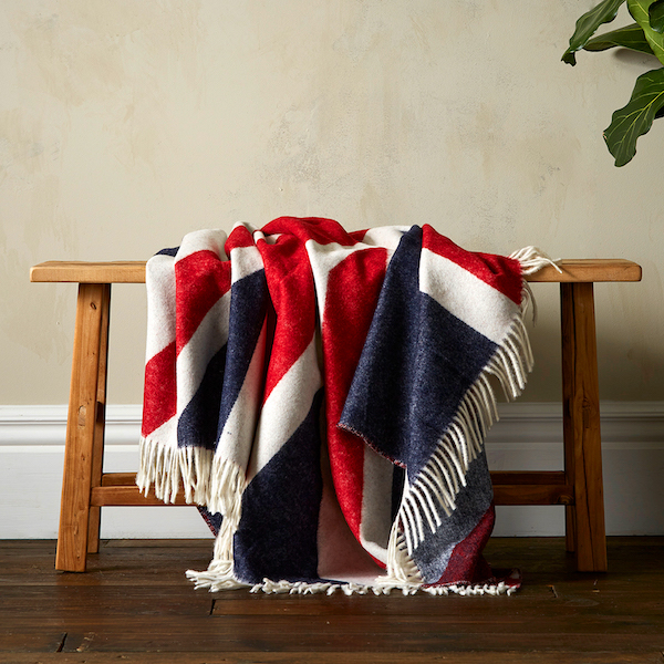 Woolroom Union Jack Merino Throw - Red,White & Blue