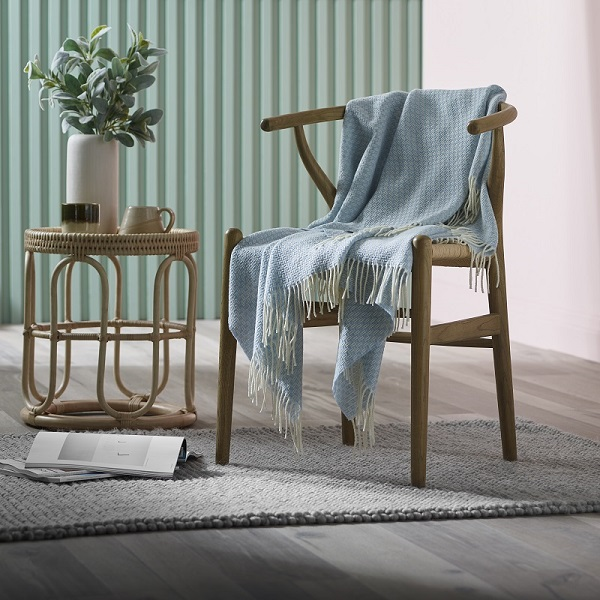 Woolroom Willow Merino Throw - Pale Blue