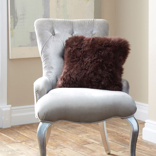 Single Sided Sheepskin Cushion Cover - Chocolate