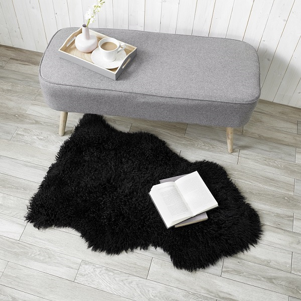 Sheepskin Longwool Curly Black