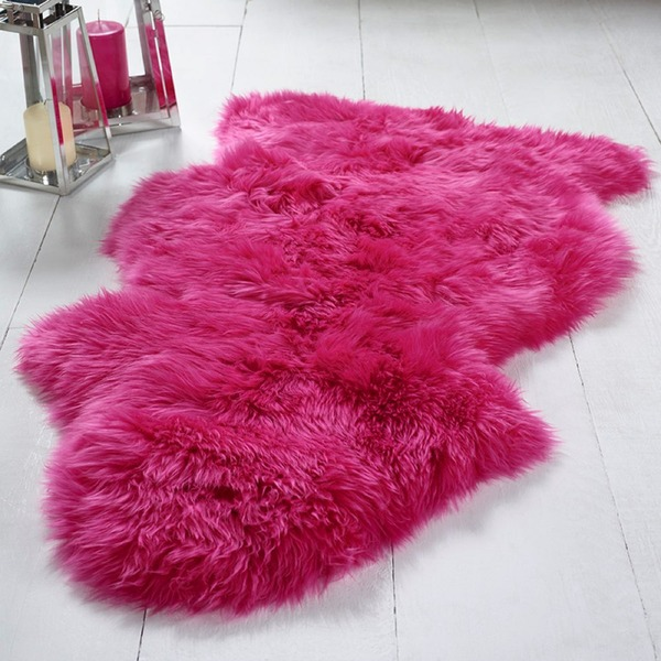 Single Sheepskin Hot Pink Rug