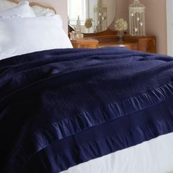 Merino Navy Blue Blanket