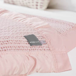 Ribblesdale Cellular Wool Bed Blanket - Powder Pink