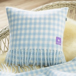 Wool Baby Cushion, Blue Gingham Check