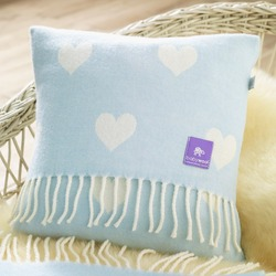 Wool Baby Cushion, Blue Hearts Merino