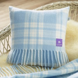 Wool Baby Cushion, Blue Menzies Check