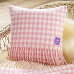 Wool Baby Cushion, Pink Gingham Check