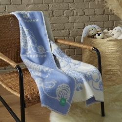 Babywool Knitted Sheep Blanket - Blue Small