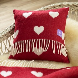 Merino Wool Cushion, Red Hearts
