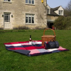 Wool Picnic Blanket Large - Red, Navy & Cream Squares