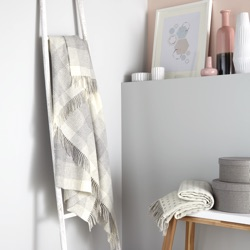Blanket Check Merino Wool Throw - Grey