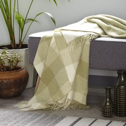 Blanket Check Merino Wool Throw - Sage