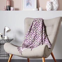 Double Square Merino Wool Throw - Lilac